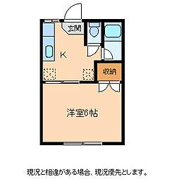 コーポまどかB[2階]の間取り