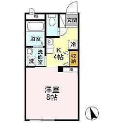 香川県高松市多肥下町の賃貸アパートの間取り