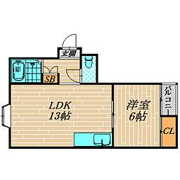 グレイシィー高殿[203号室]の間取り