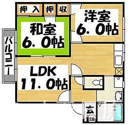 福岡県大野城市筒井3丁目の賃貸アパートの間取り