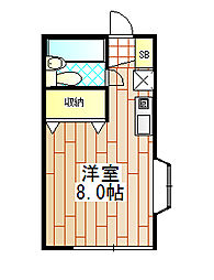 神奈川県伊勢原市伊勢原1丁目の賃貸アパートの間取り