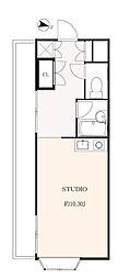 東急東横線 自由が丘駅 徒歩6分の賃貸アパート 2階ワンルームの間取り