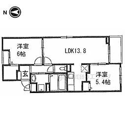 アヴェニール山崎 2階2LDKの間取り