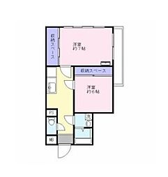 JR中央線 立川駅 徒歩10分の賃貸マンション 2階2Kの間取り