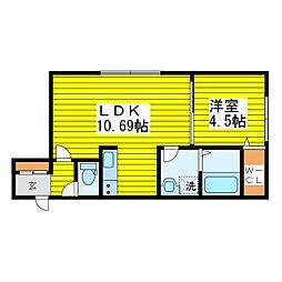 札幌市営東豊線 北13条東駅 徒歩1分の賃貸マンション 1階1LDKの間取り