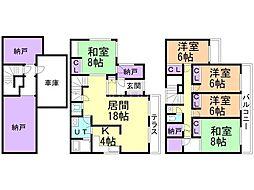 札幌市営南北線 真駒内駅 徒歩6分の賃貸一戸建て 1階5SLDKの間取り