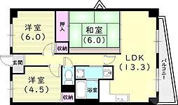 サンパティ西宮 2階3LDKの間取り