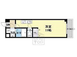 パーラム高殿 7階ワンルームの間取り