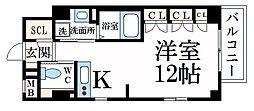 阪神本線 芦屋駅 徒歩6分の賃貸マンション 2階ワンルームの間取り