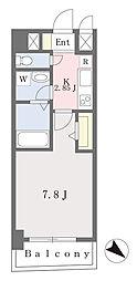 ブラン東光 5階1Kの間取り