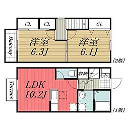 JR成田線 佐原駅 徒歩25分の賃貸タウンハウス 1階2LDKの間取り