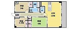 大阪府東大阪市荒川3丁目の賃貸マンションの間取り