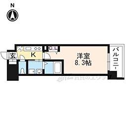 京都地下鉄東西線 太秦天神川駅 徒歩6分の賃貸マンション 5階1Kの間取り