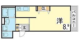 神戸市海岸線 駒ヶ林駅 徒歩5分の賃貸マンション 3階1Kの間取り