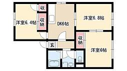 愛知県名古屋市緑区大高町字藤塚の賃貸アパートの間取り