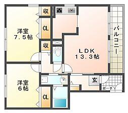 プロスペール[2階]の間取り