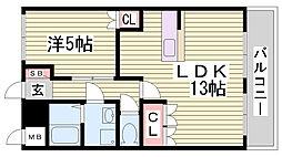 EAST 135.22 2階1LDKの間取り