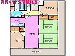 サンマンションポルタ久居 南館[12階]の間取り