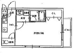 JR宇野線 大元駅 徒歩9分の賃貸マンション 2階1Kの間取り