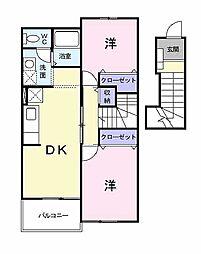 兵庫県加古川市別府町新野辺の賃貸アパートの間取り