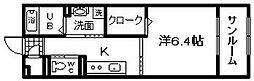 JR阪和線 東岸和田駅 徒歩4分の賃貸アパート 1階1Kの間取り