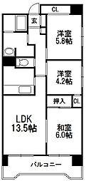 北海道札幌市中央区大通西18丁目の賃貸マンションの間取り