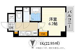 阪急千里線 豊津駅 徒歩8分の賃貸マンション 2階1Kの間取り