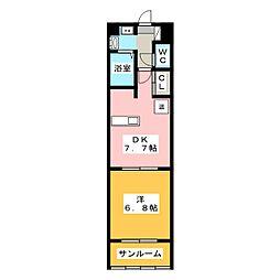 サン・ウエダビルII[2階]の間取り
