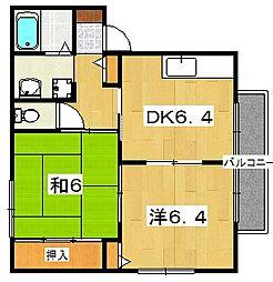 レインボーハイツUEMORI[2階]の間取り