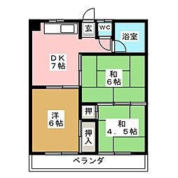 愛知県名古屋市港区小碓3丁目の賃貸マンションの間取り