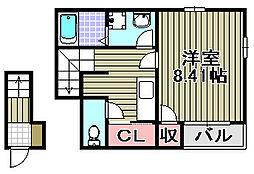 クレイノHIGASHINO[202号室]の間取り