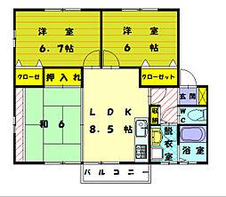 サンシャイン三苫III[2階]の間取り