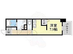 Osaka Metro谷町線 谷町四丁目駅 徒歩4分の賃貸マンション 5階ワンルームの間取り