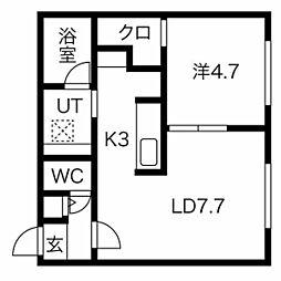 札幌市営南北線 澄川駅 徒歩5分の賃貸マンション 2階1LDKの間取り