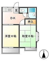 ハイツ尾崎[2階]の間取り