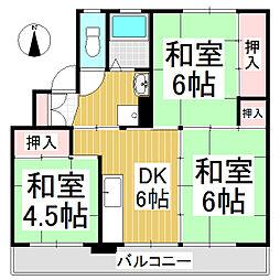 ビレッジハウス八幡 2号棟[3階]の間取り