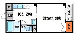 コンフォートM 4階1Kの間取り