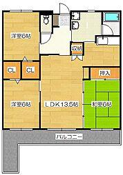 ルシナパ−ク[4階]の間取り