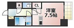 レジュールアッシュOSAKA今里駅前 2階1Kの間取り