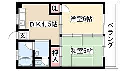 愛知県名古屋市緑区鳴海町字片坂の賃貸マンションの間取り