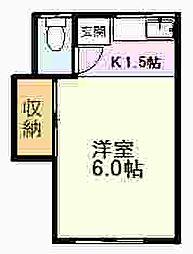 JR中央線 国立駅 徒歩13分の賃貸アパート 2階ワンルームの間取り