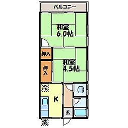 土井アパート[203号室]の間取り