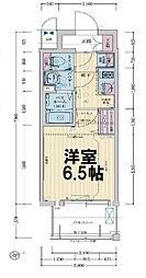 レシオス大阪城公園 10階1Kの間取り