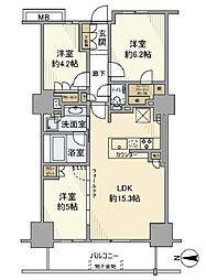 プライムパークス品川シーサイドザタワー 7階3LDKの間取り
