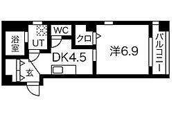 名鉄名古屋本線 堀田駅 徒歩10分の賃貸マンション 3階1DKの間取り