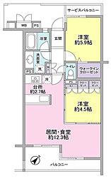 神奈川県横浜市神奈川区旭ケ丘の賃貸マンションの間取り