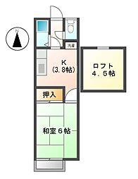 東京都小金井市東町1丁目の賃貸アパートの間取り