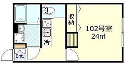 東急東横線 日吉駅 徒歩8分の賃貸アパート 1階1Kの間取り
