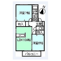 カーサ山百合[102号室]の間取り