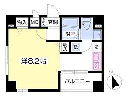エターナル新富 9階ワンルームの間取り